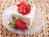 Вкусна бисквитена торта с кафе, сирене крема и кондензирано мляко